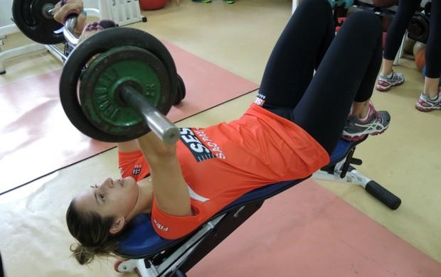 Dani Lins musculação vôlei Sesi (Foto: João Gabriel Rodrigues)