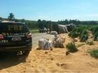 Carreta com milho tomba e interdita parte de rodovia em Cascavel, no PR