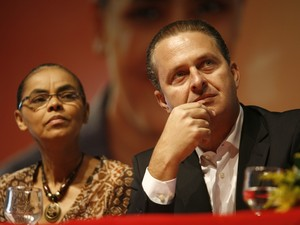 Em 19 de dezembro de 2013, Eduardo Campos e Marina Silva participam da cerimônia de filiação ao PSB da ex-ministra do Superior Tribunal de Justiça (STJ), Eliana Calmon,  em ato realizado no espaço Unique, na Avenida Tancredo Neves, em Salvador. (Foto: Raul Spinassé / Ag. A TARDE )