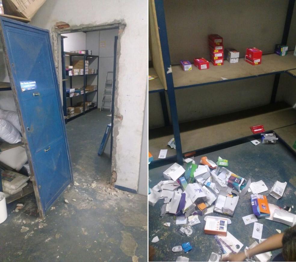 Grupo destruiu porta de ferro para acessar depósito de celulares em loja (Foto: Divulgação/Polícia Militar )