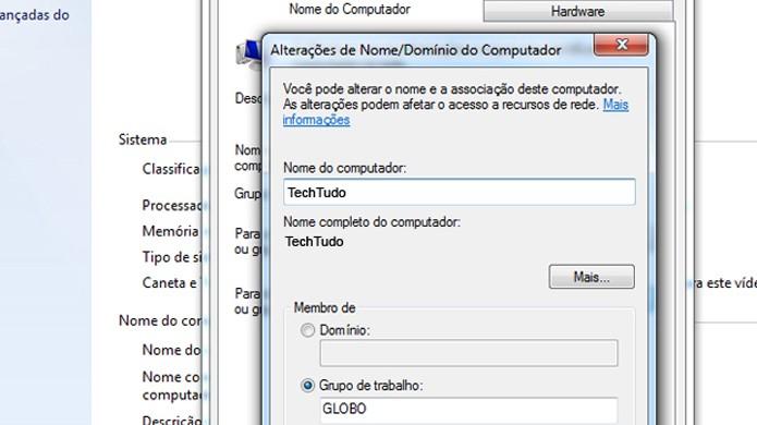 Altere o nome do seu computador para um com pelo menos 10 caracteres (Foto: Reprodução/TechTudo)