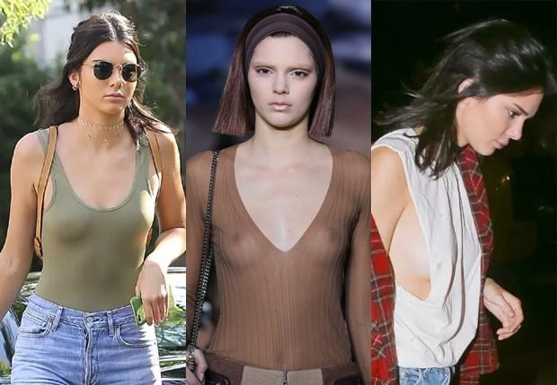 Kendall Jenner em três momentos sem sutiã (Foto: AKM-GSI, Getty Images e Grosby Group)
