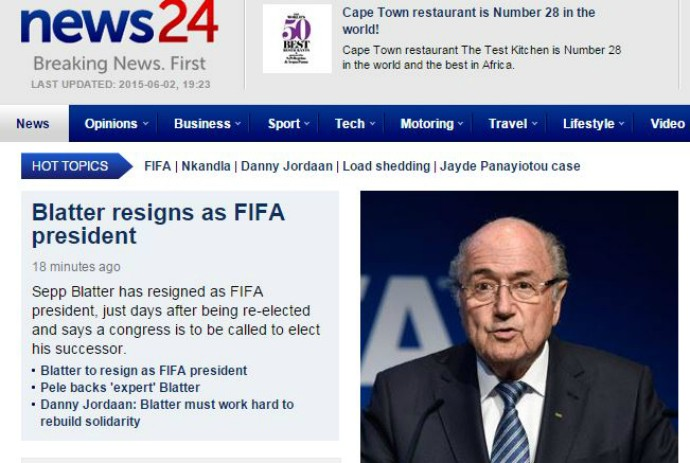 saída blatter fifa news24 (Foto: Reprodução)