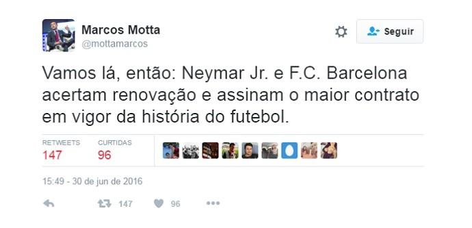 Marcos Motta Renovação Neymar (Foto: Reprodução/Twitter)