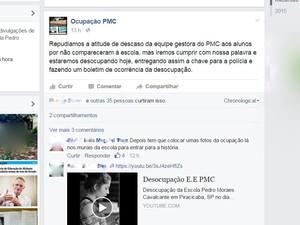 Alunos da escola Pedro Moraes Cavalcanti, em Piracicaba, divulgaram desocupação pelo Facebook (Foto: Reprodução/Facebook)