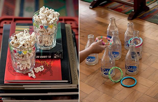 Improviso Bão! Copos Roberto Simões. À dir., garrafas de leite antigas para os convidados testarem a mira (Foto: Cacá Bratke)