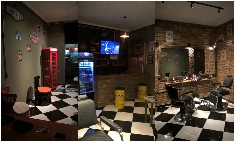 Barberaria aberta por Flávio Cordeiro, em Mogi das Cruzes, segue tendência moderna com video game, wi-fi e bar (Foto: Flávio Cordeiro/ Arquivo Pessoal)