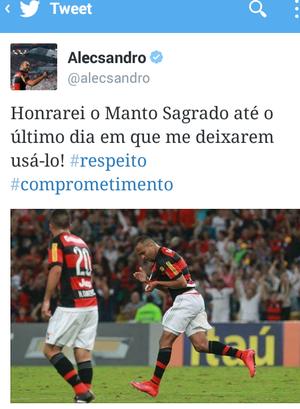 Post Alecsandro Flamengo (Foto: Reprodução Twitter)