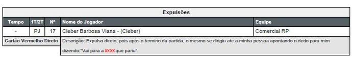 Árbitro Thiago Duarte Peixoto relata palavrões do atacante Clebinho (Foto: Reprodução/FPF)