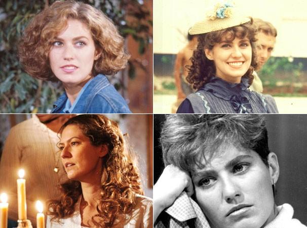 A atriz em Roque Santeiro (1985), na 1ª versão versão de Sinhá Moça (1986), na 2ª versão de Sinhá Moça (2006) e em Brtega & Chique (1987) (Foto: Divulgação/ TV Globo)