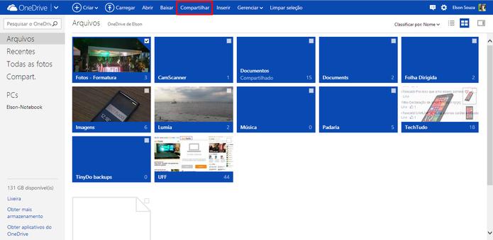 OneDrive oferece a opção de compartilhar arquivos e pastas com seus amigos e contatos (Foto: Reprodução/Elson de Souza)