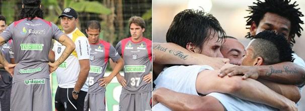 Jogadores do Figueirense mudam estratégia em campo ; jogadores do Corinthians comemoram melhora nos resultados (Foto: Luiz Henrique / FFC / Marcos Ribolli / Globoesporte.com)