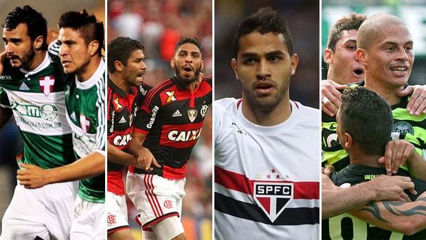 Curitiba fica com Palmeiras e Flamengo, restante do estado vê Coritiba e São Paulo (Foto: Marcos Ribolli; Alexandre Vidal/Fla Imagem; Divulgação/Site Oficial do Coritiba e Rubens Chiri/saopaulofc.net)