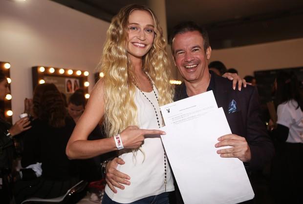 Viviane Orth e André Sanseverino, vice-presidente da Playboy Brasil (Foto: Iwi Onodera/EGO)