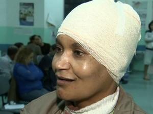 Eurides Batista da Silva teve ferimentos na cabeça após ser atingida (Foto: Reprodução/TV TEM)