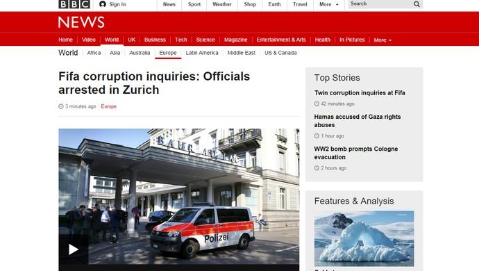 Reprodução Jornal BBC Inglaterra escândalo FIFA (Foto: Reprodução)