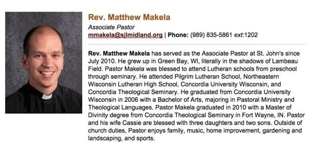 Pastor norte-americano Matthew Makela deixou igreja de Michigan após ser flagrando usando o app Grindr. (Foto: Reprodução/St. John's Lutheran Church and School)