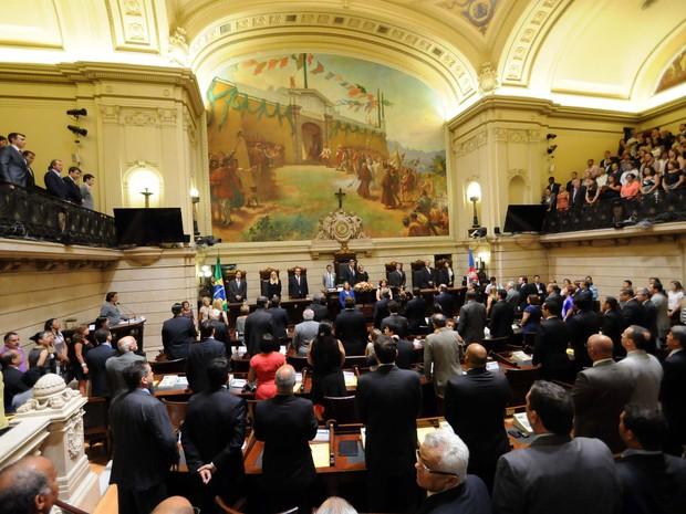 Cerimônia de diplomação aconteceu na Câmara do RIo  (Foto: Alexandre Durão/G1)