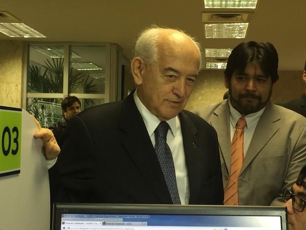Manoel Dias em evento em MS, nesta sexta-feira (19) (Foto: Gabriela Pavão/G1)