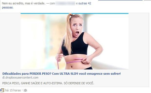 Anúncio carrega vírus no Facebook que marca amigos na timeline. (Foto: Reprodução/facebook)