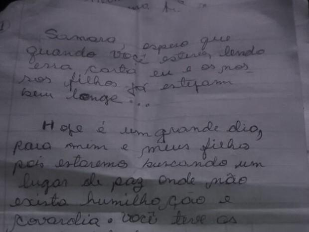Trecho da carta enviada pelo motorista à ex-mulher antes do acidente (Foto: Reprodução)