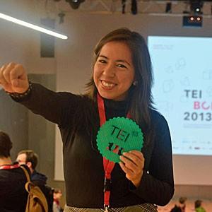 Peruana Katia Veja, de 29 anos, na premiação em Barcelona (Foto: Divulgação)