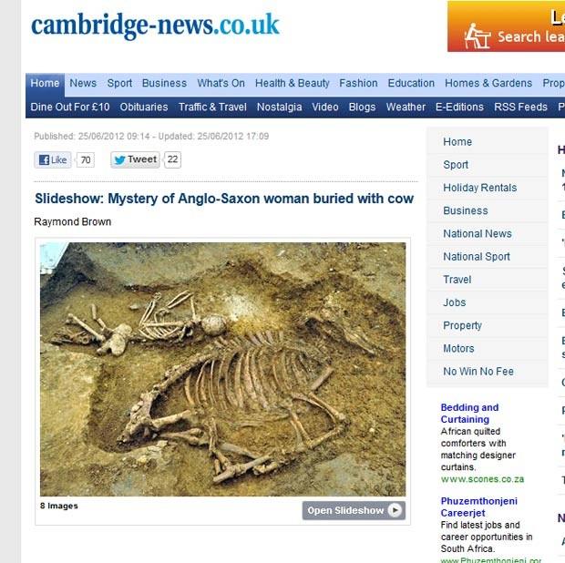 Mulher anglo-saxã que tinha sido enterrada ao lado de uma vaca. (Foto: Reprodução)