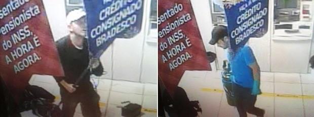 Câmeras de segurança da agência registraram os criminosos no momento em que arrombaram o terminal (Foto: Divulgação/PM)