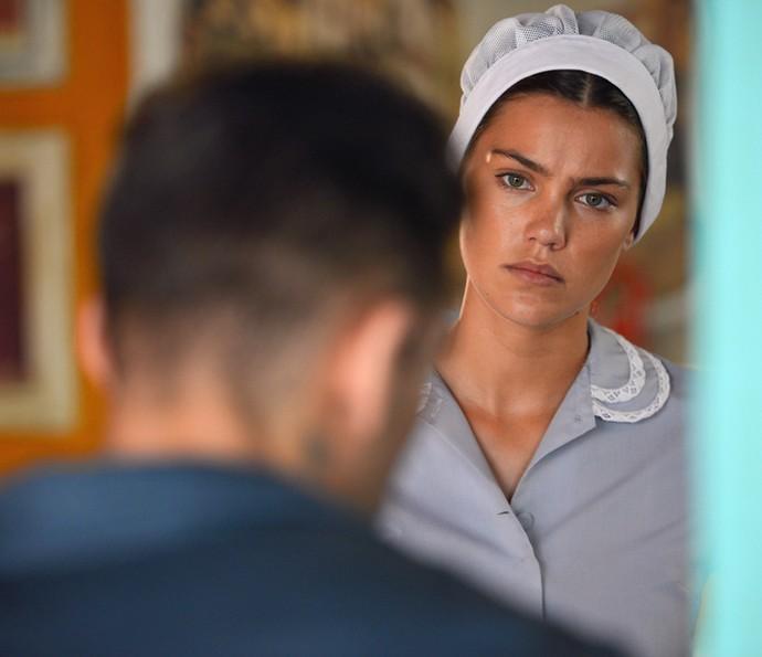 Alina não curte ouvir que Jéssica se declarou para ele (Foto: Pedro Carrilho/Gshow)