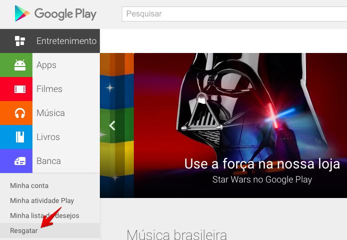 Resgatando um cupom no Google Play pelo computador (Foto: Reprodução/Helito Bijora)