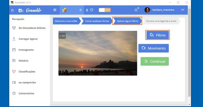 Selecione o botão de filtros para iniciar a personalização da foto (Foto: Reprodução/Barbara Mannara) (Foto: Selecione o botão de filtros para iniciar a personalização da foto (Foto: Reprodução/Barbara Mannara))
