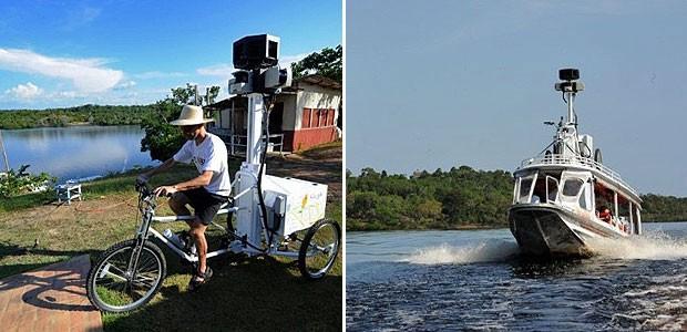 Trechos do Rio Negro e comunidades próximas, no estado do Amazonas, começaram a ser fotografadas para o serviço Street View, do Google. A região será incluída no serviço que permite, ao acessar o Google Maps, fazer um passeio virtual por meio de fotos em  (Foto: Evaristo SA/AFP)