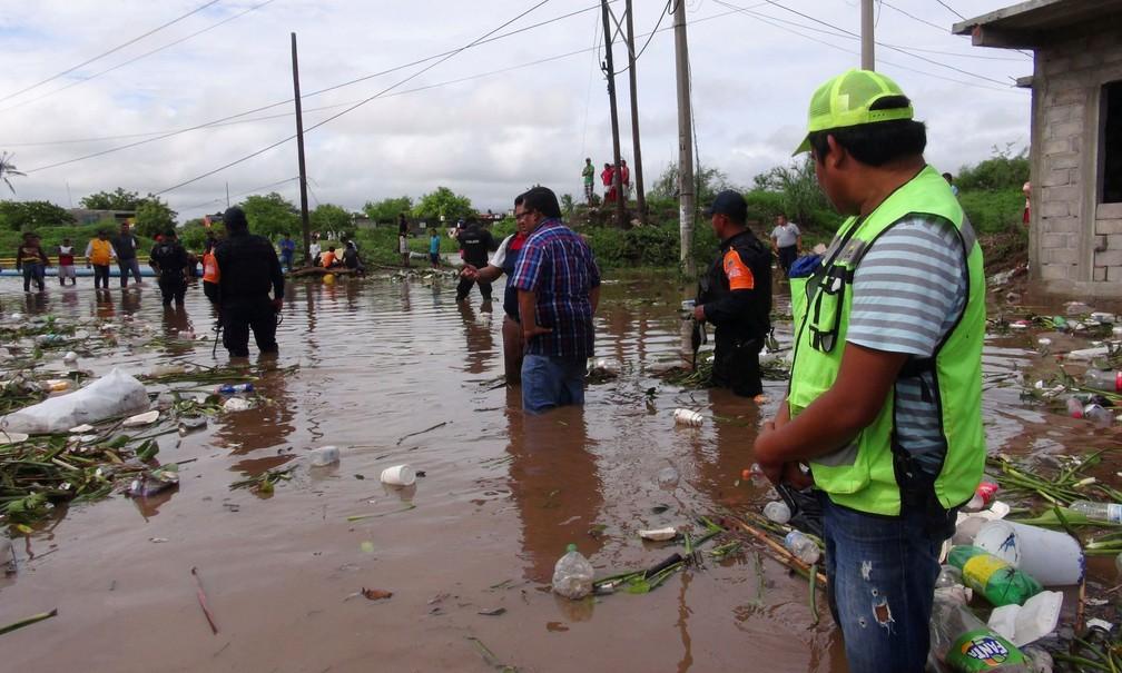 Funcionários do governo avaliam danos provocados por tempestade Beatriz em Juchitan, no estado de Oaxaca, no México, nesta sexta-feira  (Foto: Reuters/Rusvel Rasgado)