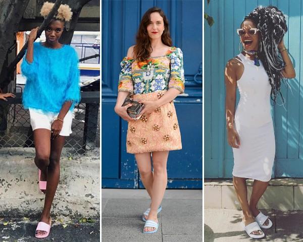 """""""Shower slides"""", os chinelos de tira grossa, caem no gosto das fashionistas (Foto: Reprodução Instagram)"""