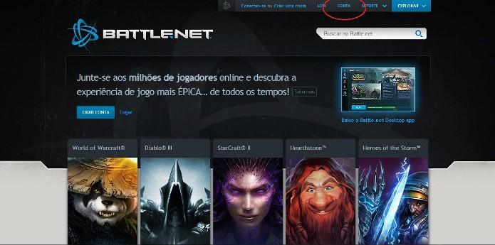 Acesse sua conta no site da Battle.net (Foto: Reprodução / João Moura)