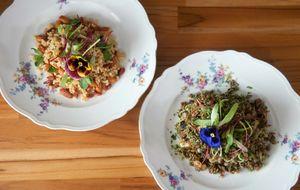 Arroz integral com amêndoas e arroz vermelho com lentilha