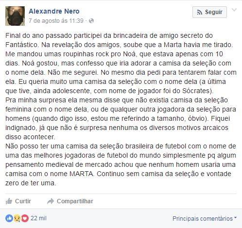 Alexandre Nero no Facebook (Foto: Reprodução / Facebook)