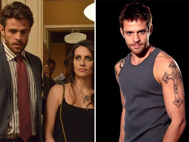 Alejandro Claveaux vive o delegado Alexandre em O Caçador. À direita, o ator como Moisés em Malhação (Foto: TV Globo / Divulgação)
