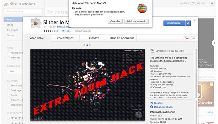 Instale o Slither.io Mod no seu Chrome (Foto: Reprodução/Murilo Molina)