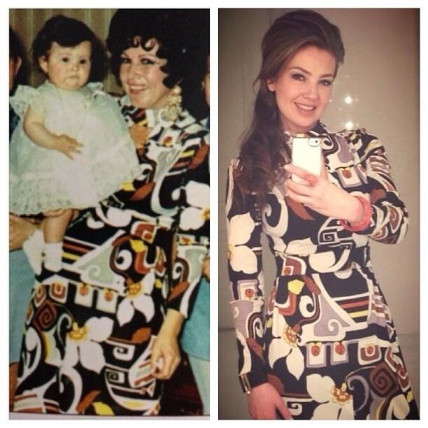 Thalia ainda bebê com a mãe no dia de seu batizado e posando para foto com o vestido usado pela mãe na época (Foto: Instagram/ Reprodução)
