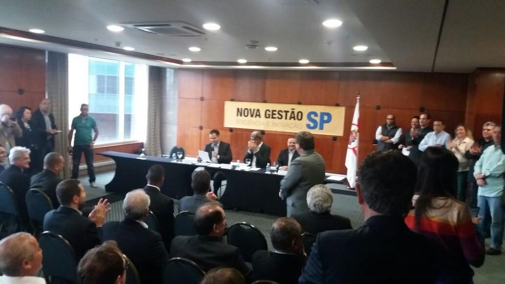Anúncio de 20 prefeitos regionais (Foto: Márcio Pinho/G1)