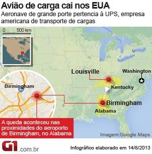 mapa queda avião alabama (Foto: Arte/G1)