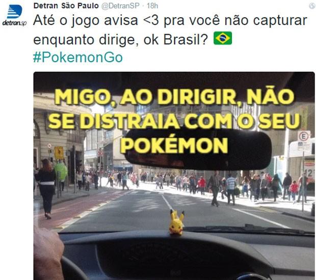 Detran SP disse para o motorista não capturar pokémons enquanto dirige (Foto: Reprodução/Twitter)