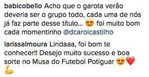 Outras participantes comentam e se despedem de Carol (Foto: Divulgação / Redes Sociais)