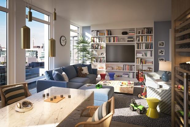 Sala de um apartamento do 70 Vestry (Foto: Divulgação/Related)