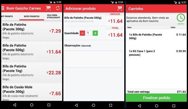 Telas do aplicativo do Bom Gaúcho (Foto: Reprodução)