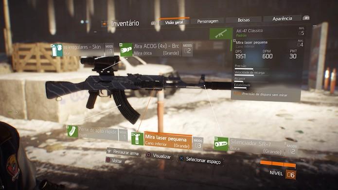 The Division: modifique armas com novos acessórios (Foto: Reprodução/Victor Teixeira)