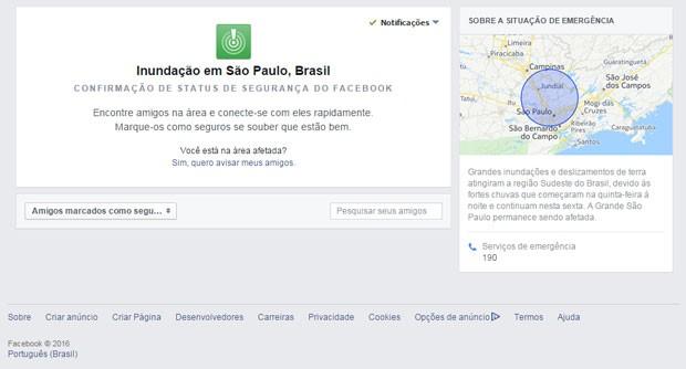 Facebook ativa 'status de segurança' para usuários atingidos pela chuva em SP; é a primeira vez que sistema vai ao ar no Brasil. (Foto: Reprodução/Facebook)