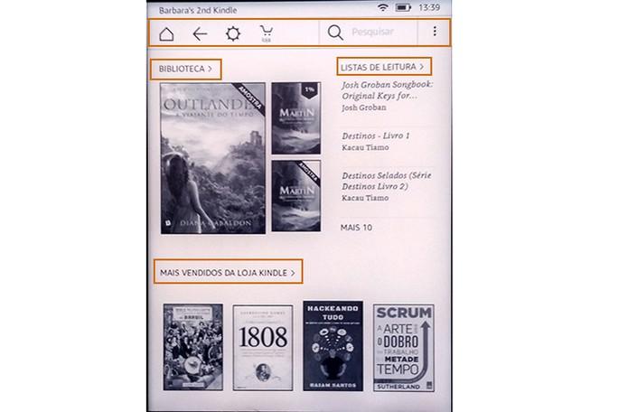 Interface do Kindle muda com itens organizados com conteúdo do usuário (Foto: Reprodução/Barbara Mannara)