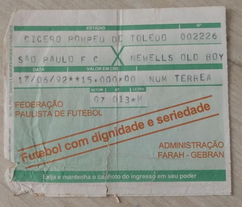 Ingresso da final de 1992, entre São Paulo e Newell's Old Boys (Foto: Arquivo Pessoal)